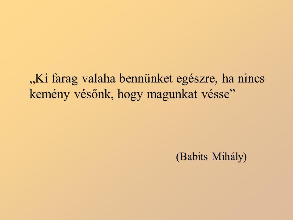 """""""Ki farag valaha bennünket egészre, ha nincs kemény vésőnk, hogy magunkat vésse"""" (Babits Mihály)"""
