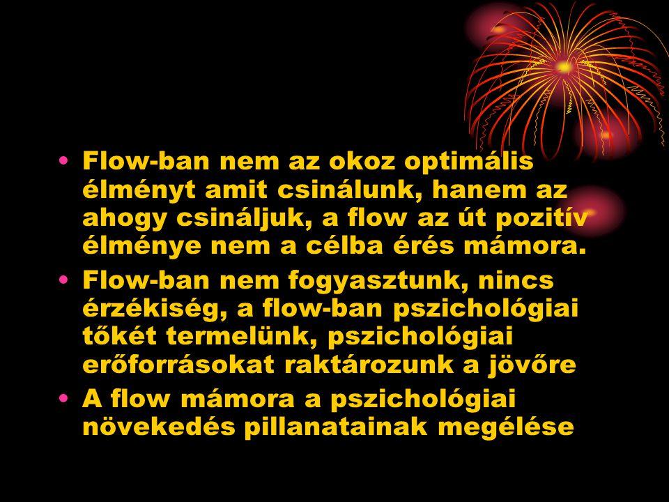 Flow-ban nem az okoz optimális élményt amit csinálunk, hanem az ahogy csináljuk, a flow az út pozitív élménye nem a célba érés mámora. Flow-ban nem fo