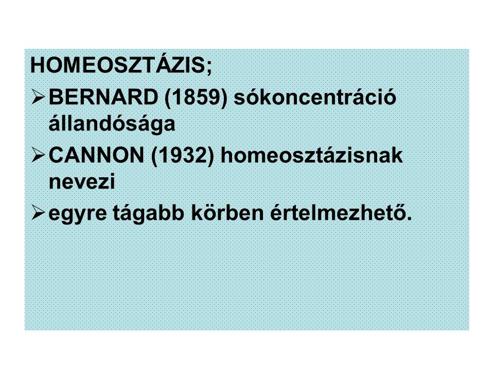 HOMEOSZTÁZIS;  BERNARD (1859) sókoncentráció állandósága  CANNON (1932) homeosztázisnak nevezi  egyre tágabb körben értelmezhető.