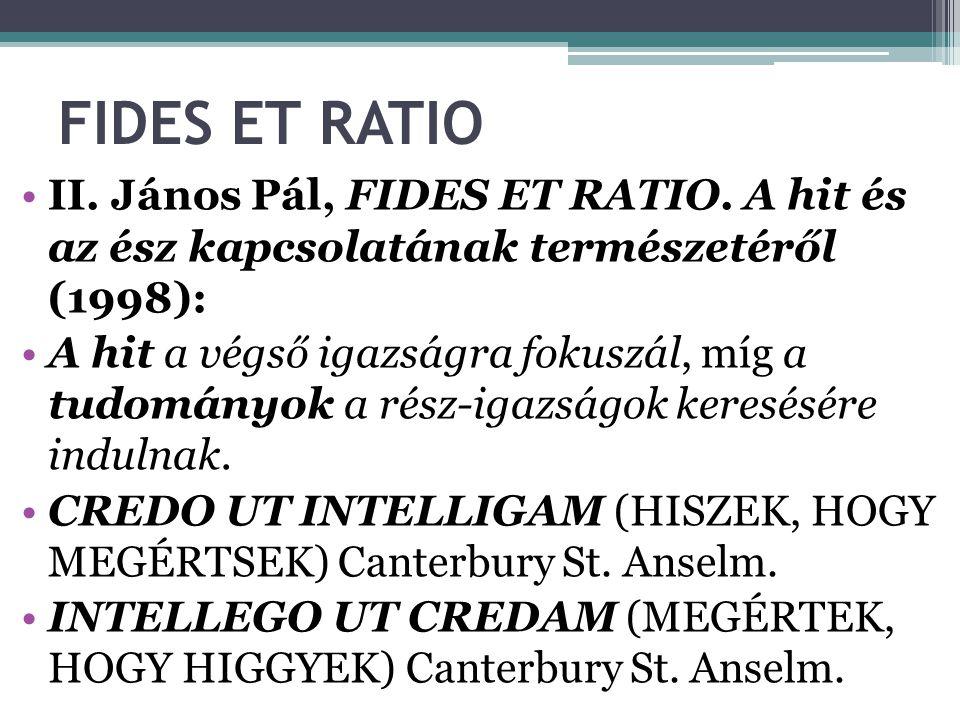 FIDES ET RATIO II.János Pál, FIDES ET RATIO.