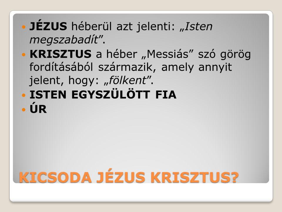 """KICSODA JÉZUS KRISZTUS? JÉZUS héberül azt jelenti: """"Isten megszabadít"""". KRISZTUS a héber """"Messiás"""" szó görög fordításából származik, amely annyit jele"""