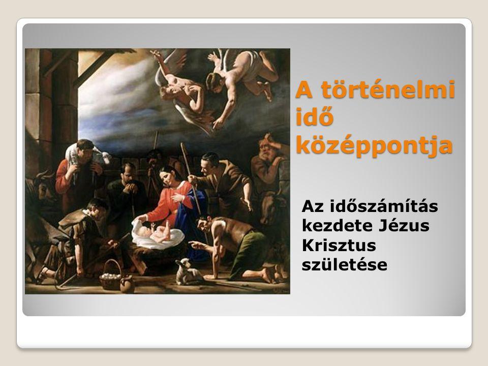 A történelmi idő középpontja Az időszámítás kezdete Jézus Krisztus születése