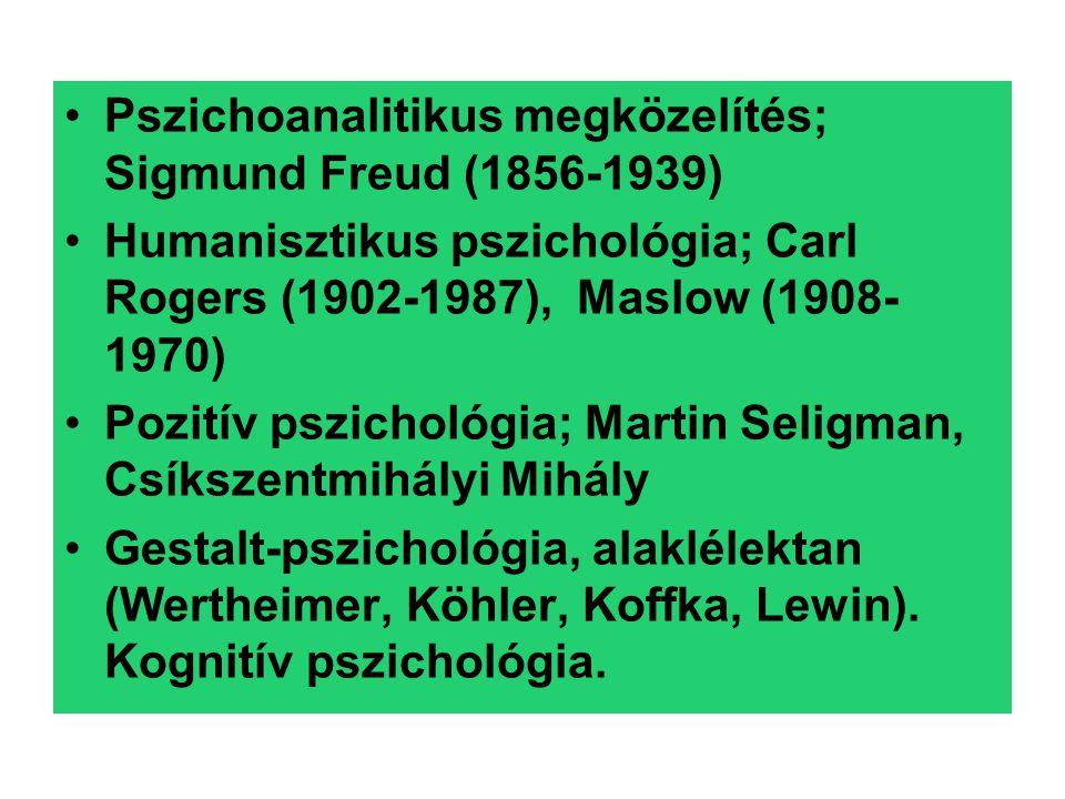 Pszichoanalitikus megközelítés; Sigmund Freud (1856-1939) Humanisztikus pszichológia; Carl Rogers (1902-1987), Maslow (1908- 1970) Pozitív pszichológia; Martin Seligman, Csíkszentmihályi Mihály Gestalt-pszichológia, alaklélektan (Wertheimer, Köhler, Koffka, Lewin).