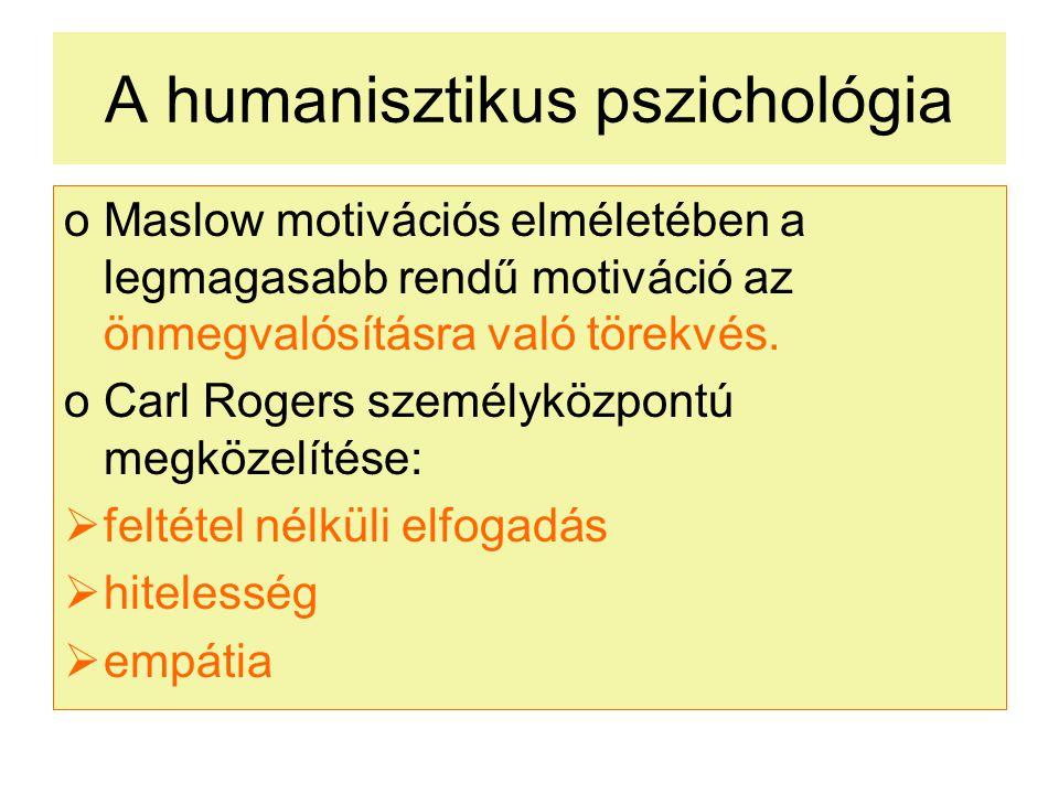A humanisztikus pszichológia oMaslow motivációs elméletében a legmagasabb rendű motiváció az önmegvalósításra való törekvés.