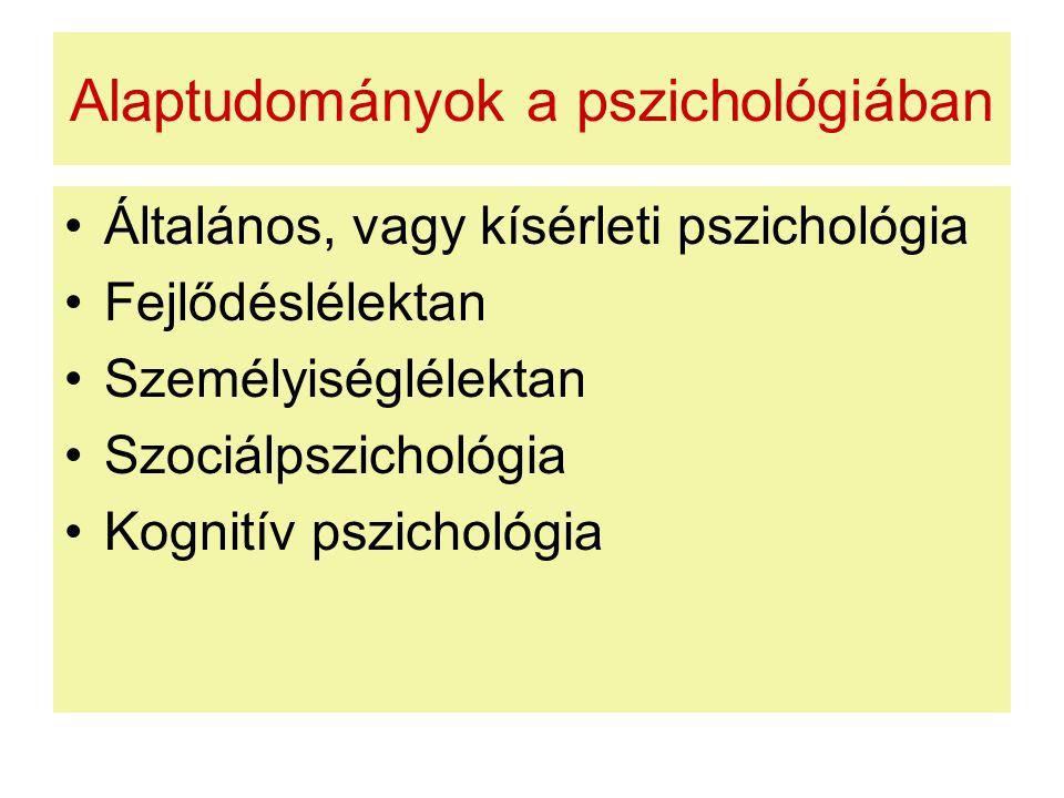 Alaptudományok a pszichológiában Általános, vagy kísérleti pszichológia Fejlődéslélektan Személyiséglélektan Szociálpszichológia Kognitív pszichológia