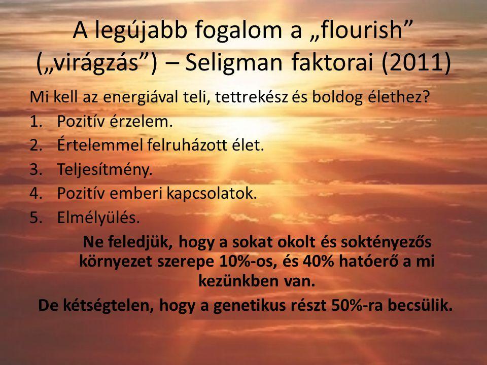 """A legújabb fogalom a """"flourish (""""virágzás ) – Seligman faktorai (2011) Mi kell az energiával teli, tettrekész és boldog élethez."""