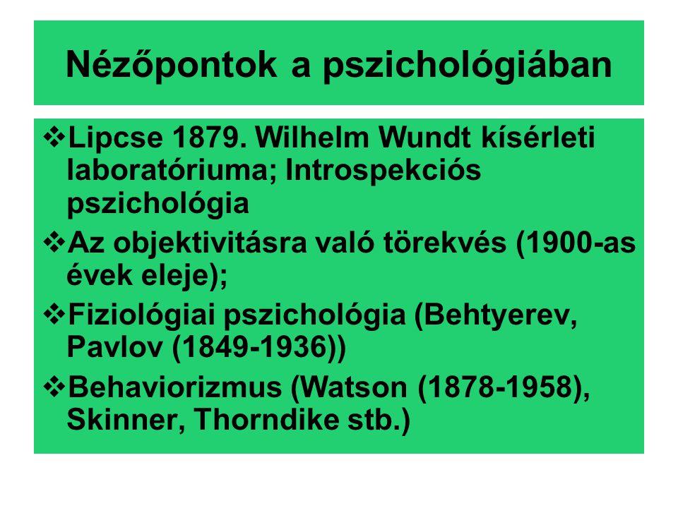 Nézőpontok a pszichológiában  Lipcse 1879.