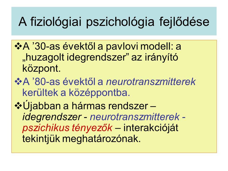 """A fiziológiai pszichológia fejlődése  A '30-as évektől a pavlovi modell: a """"huzagolt idegrendszer az irányító központ."""