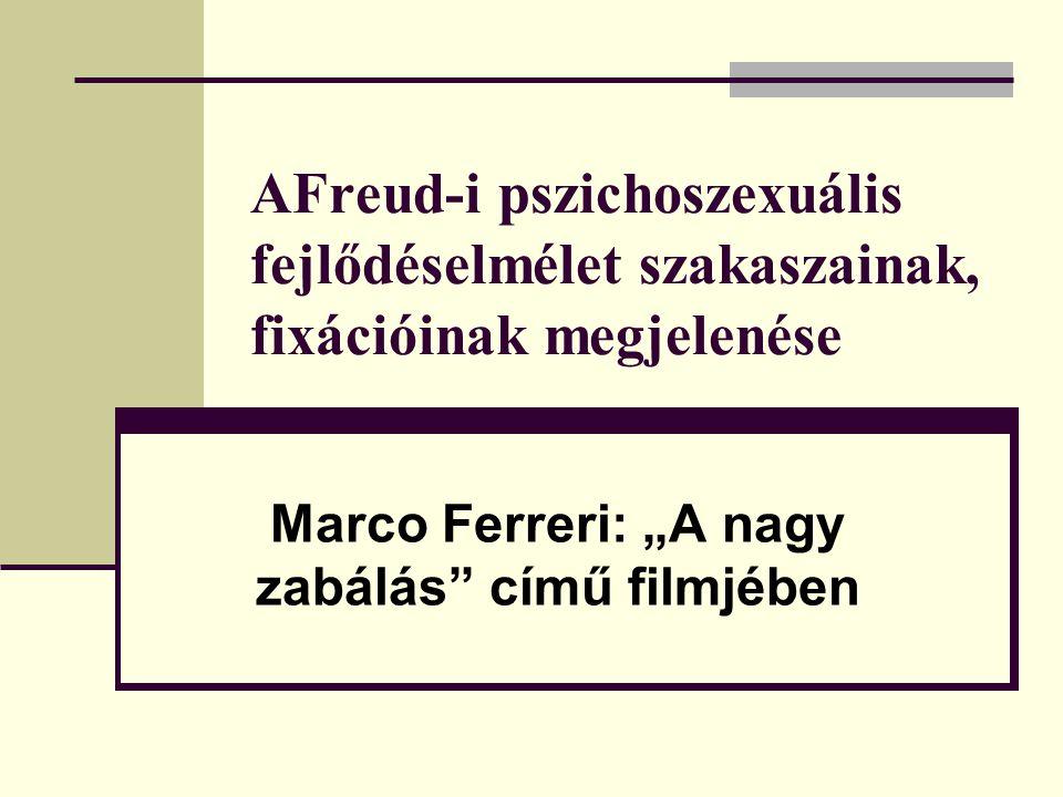 """AFreud-i pszichoszexuális fejlődéselmélet szakaszainak, fixációinak megjelenése Marco Ferreri: """"A nagy zabálás"""" című filmjében"""