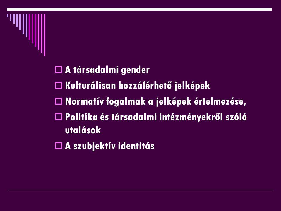  A társadalmi gender  Kulturálisan hozzáférhető jelképek  Normatív fogalmak a jelképek értelmezése,  Politika és társadalmi intézményekről szóló utalások  A szubjektív identitás