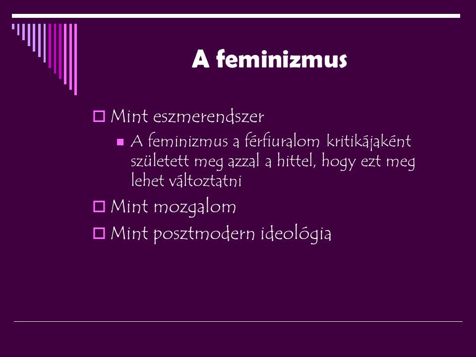 A feminizmus  Mint eszmerendszer A feminizmus a férfiuralom kritikájaként született meg azzal a hittel, hogy ezt meg lehet változtatni  Mint mozgalom  Mint posztmodern ideológia