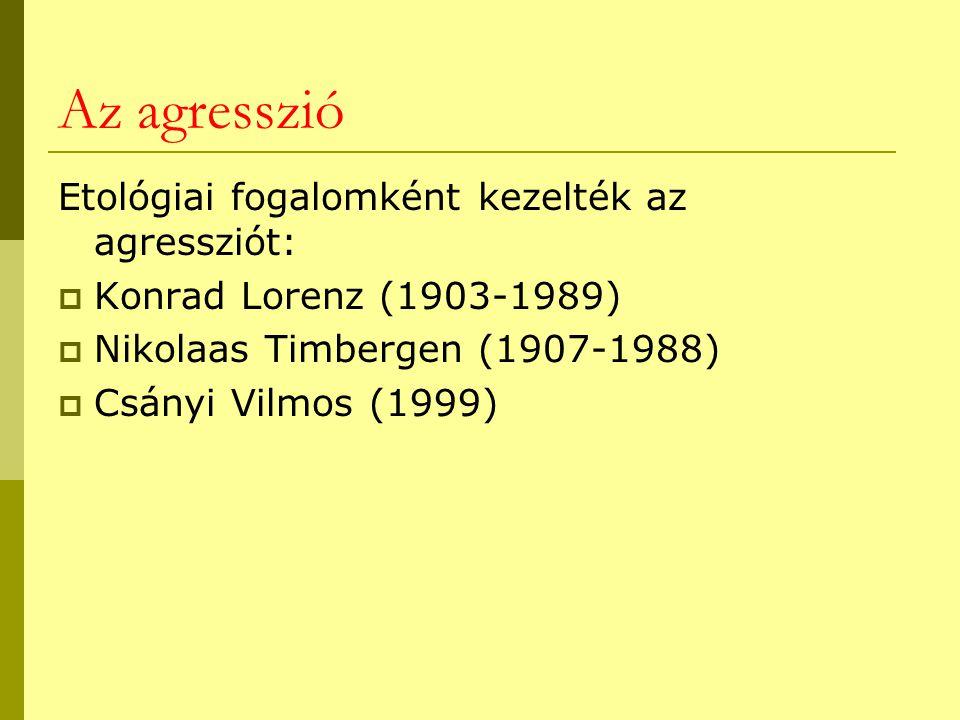 Az agresszió Etológiai fogalomként kezelték az agressziót:  Konrad Lorenz (1903-1989)  Nikolaas Timbergen (1907-1988)  Csányi Vilmos (1999)