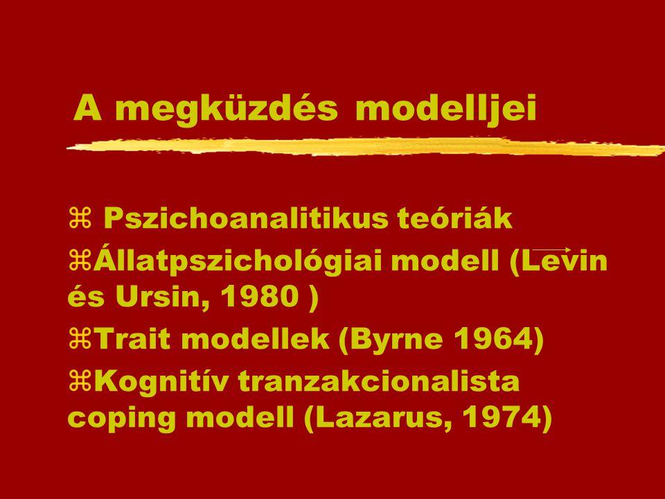 A megküzdés modelljei z Pszichoanalitikus teóriák zÁllatpszichológiai modell (Levin és Ursin, 1980 ) zTrait modellek (Byrne 1964) zKognitív tranzakcio