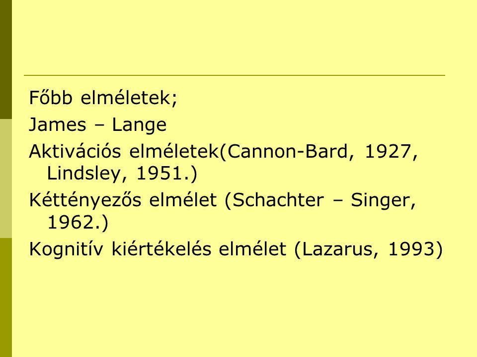 Főbb elméletek; James – Lange Aktivációs elméletek(Cannon-Bard, 1927, Lindsley, 1951.) Kéttényezős elmélet (Schachter – Singer, 1962.) Kognitív kiérté