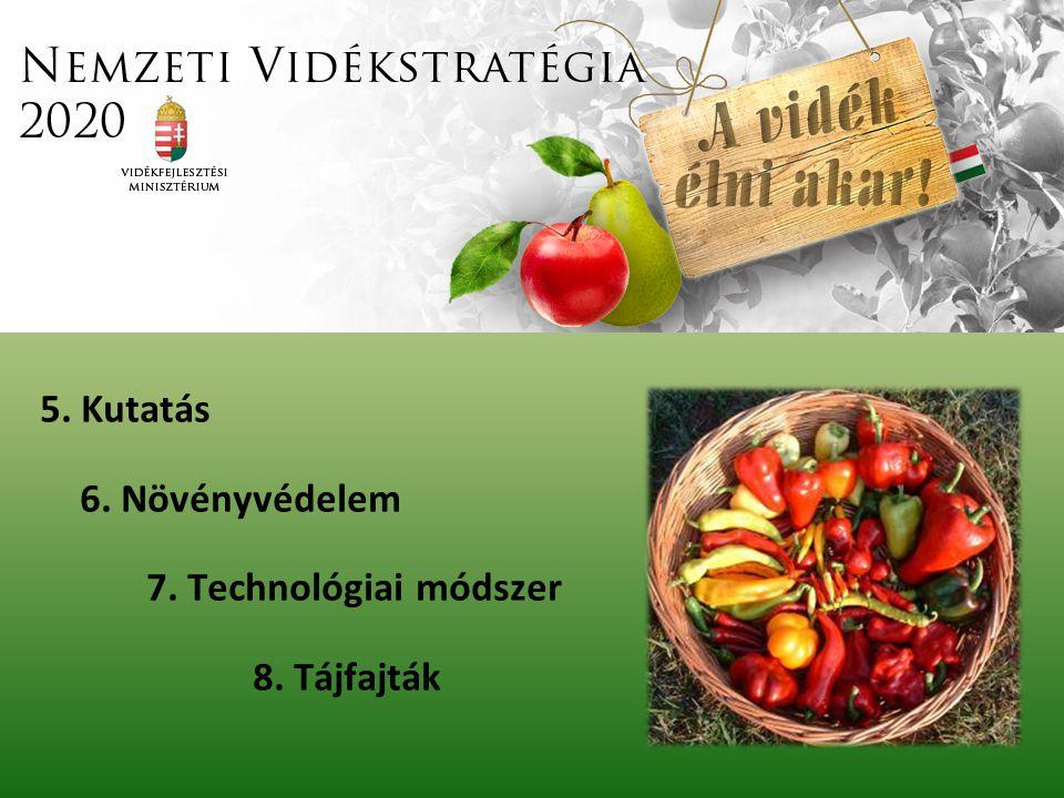 5. Kutatás 6. Növényvédelem 7. Technológiai módszer 8. Tájfajták