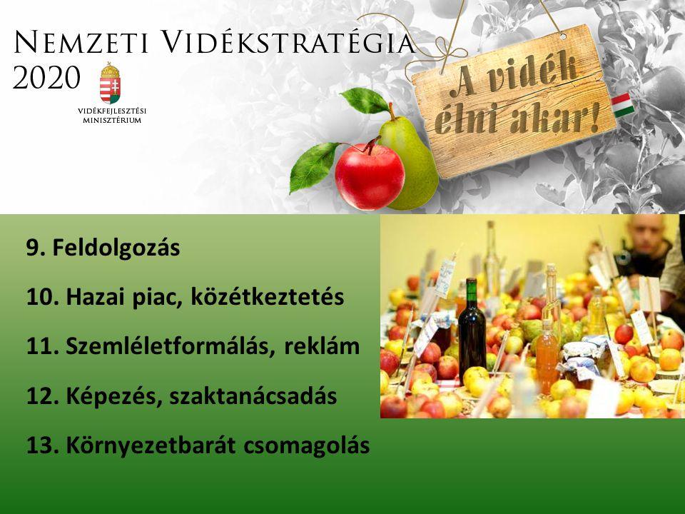 9. Feldolgozás 10. Hazai piac, közétkeztetés 11. Szemléletformálás, reklám 12. Képezés, szaktanácsadás 13. Környezetbarát csomagolás