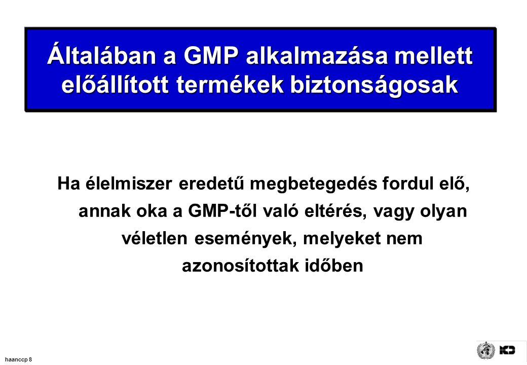haanccp 8 Általában a GMP alkalmazása mellett előállított termékek biztonságosak Ha élelmiszer eredetű megbetegedés fordul elő, annak oka a GMP-től való eltérés, vagy olyan véletlen események, melyeket nem azonosítottak időben