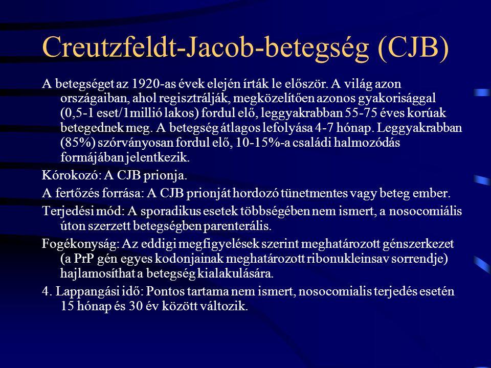 Creutzfeldt-Jacob-betegség (CJB) A betegséget az 1920-as évek elején írták le először. A világ azon országaiban, ahol regisztrálják, megközelítően azo