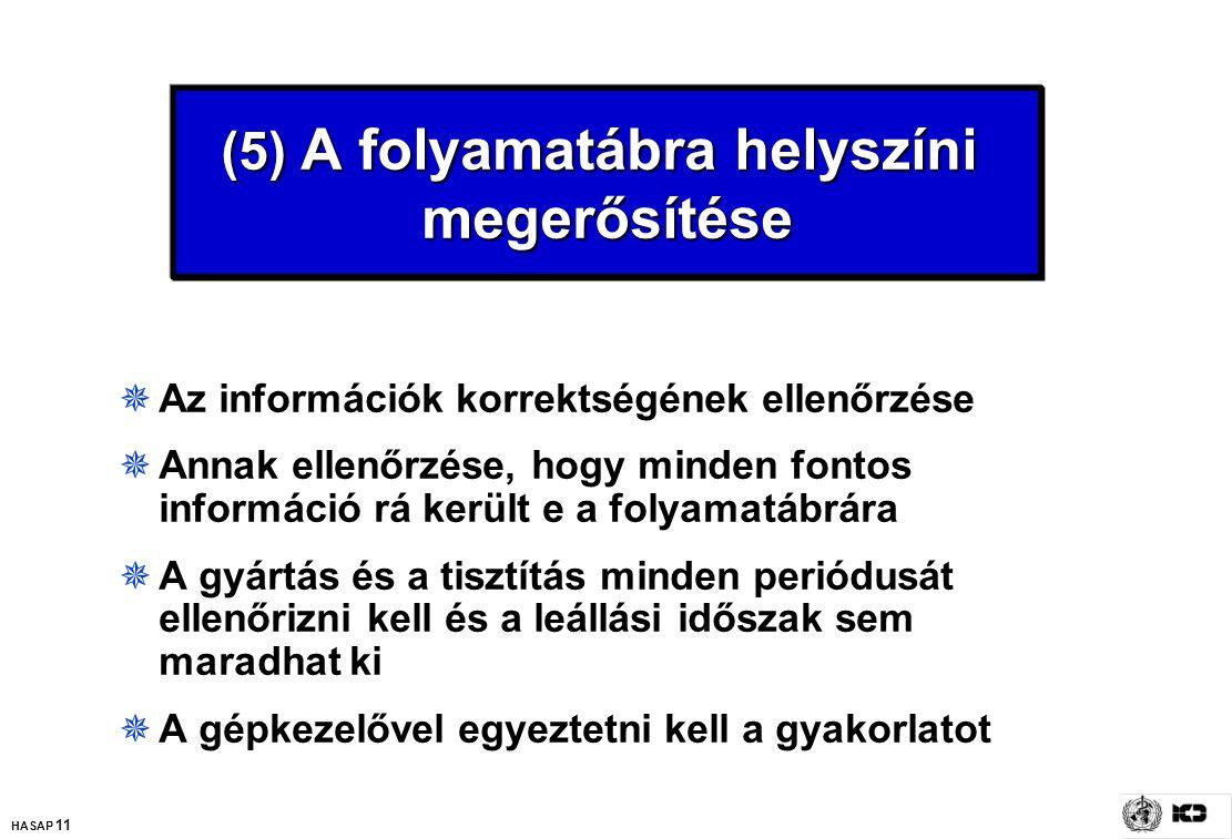 HASAP 11 (5) A folyamatábra helyszíni megerősítése  Az információk korrektségének ellenőrzése  Annak ellenőrzése, hogy minden fontos információ rá k
