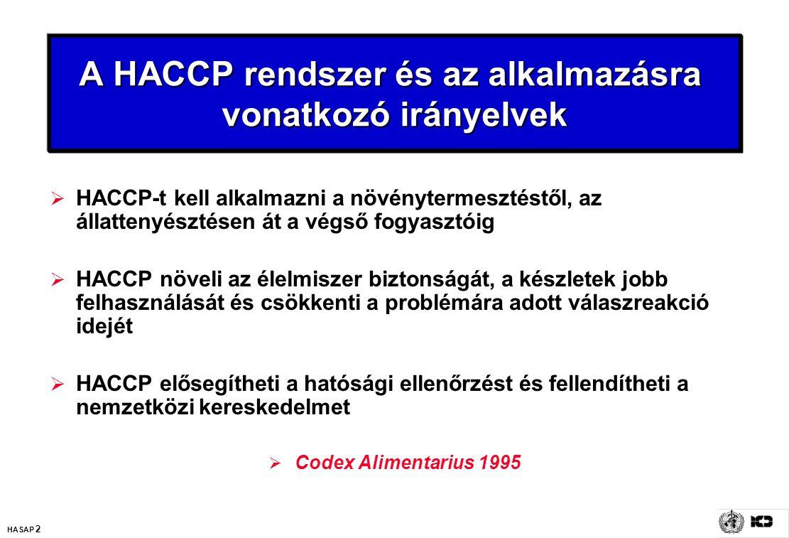 HASAP 2 A HACCP rendszer és az alkalmazásra vonatkozó irányelvek  HACCP-t kell alkalmazni a növénytermesztéstől, az állattenyésztésen át a végső fogy
