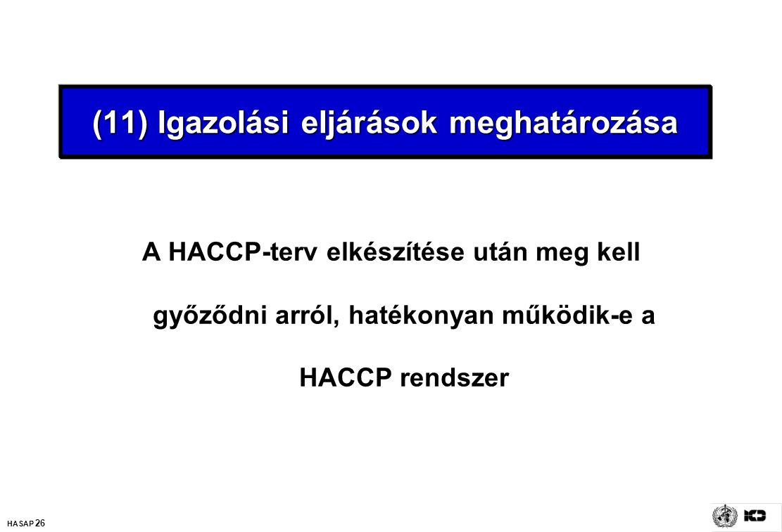 HASAP 26 (11) Igazolási eljárások meghatározása A HACCP-terv elkészítése után meg kell győződni arról, hatékonyan működik-e a HACCP rendszer