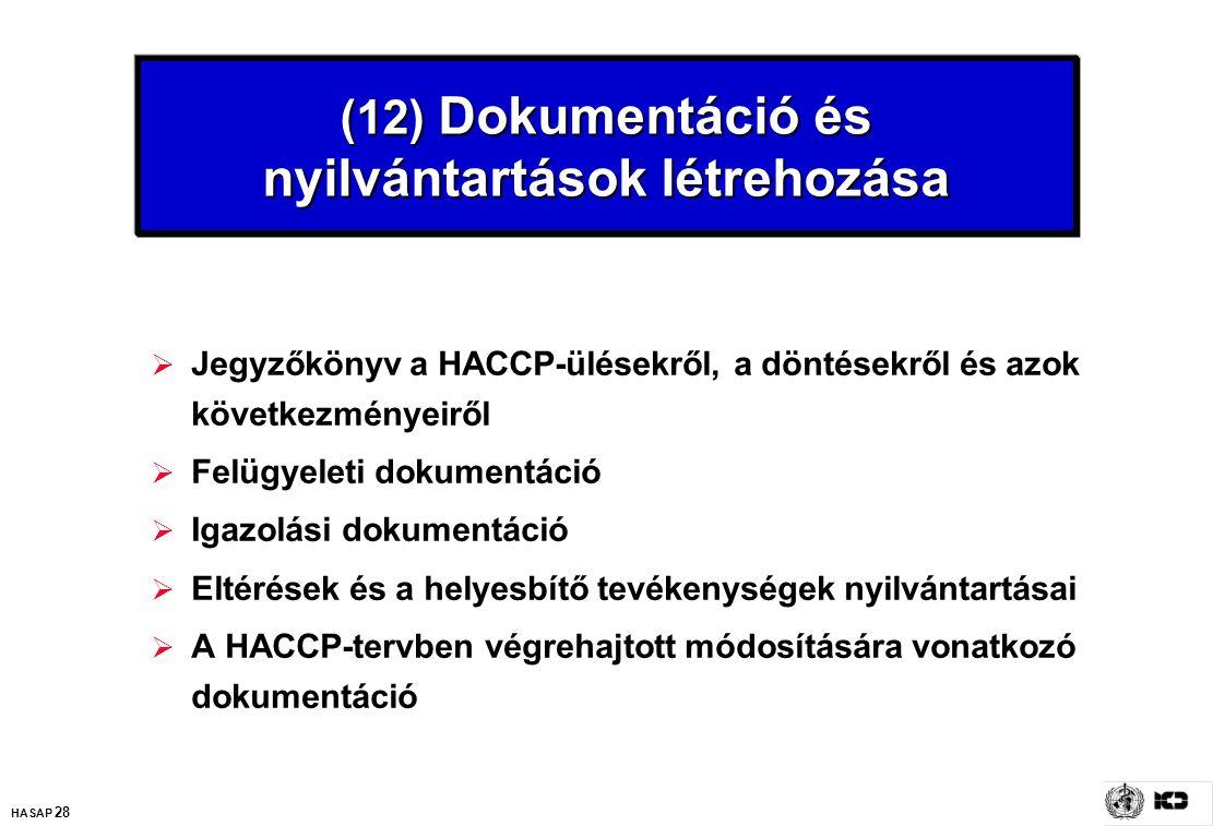 HASAP 28 (12) Dokumentáció és nyilvántartások létrehozása  Jegyzőkönyv a HACCP-ülésekről, a döntésekről és azok következményeiről  Felügyeleti dokum