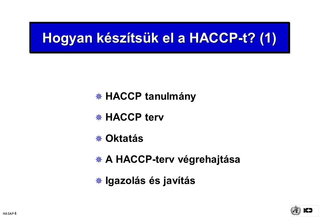 HASAP 4 Hogyan készítsük el a HACCP-t? (1)  HACCP tanulmány  HACCP terv  Oktatás  A HACCP-terv végrehajtása  Igazolás és javítás