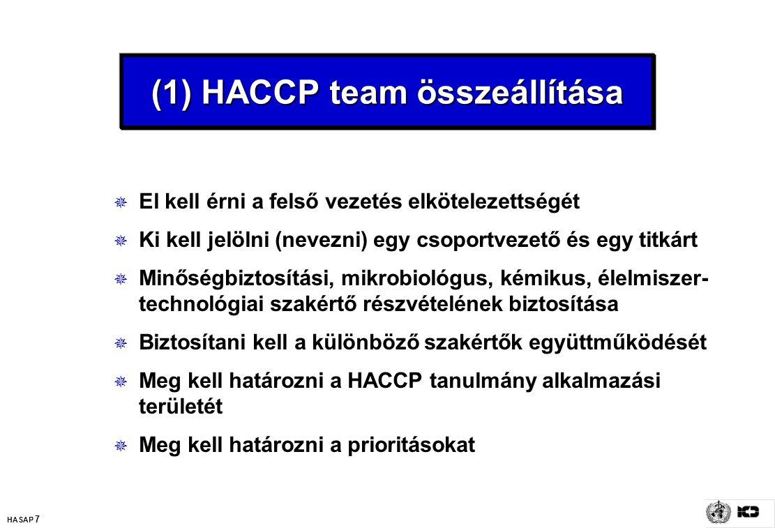 HASAP 7 (1) HACCP team összeállítása  El kell érni a felső vezetés elkötelezettségét  Ki kell jelölni (nevezni) egy csoportvezető és egy titkárt  M