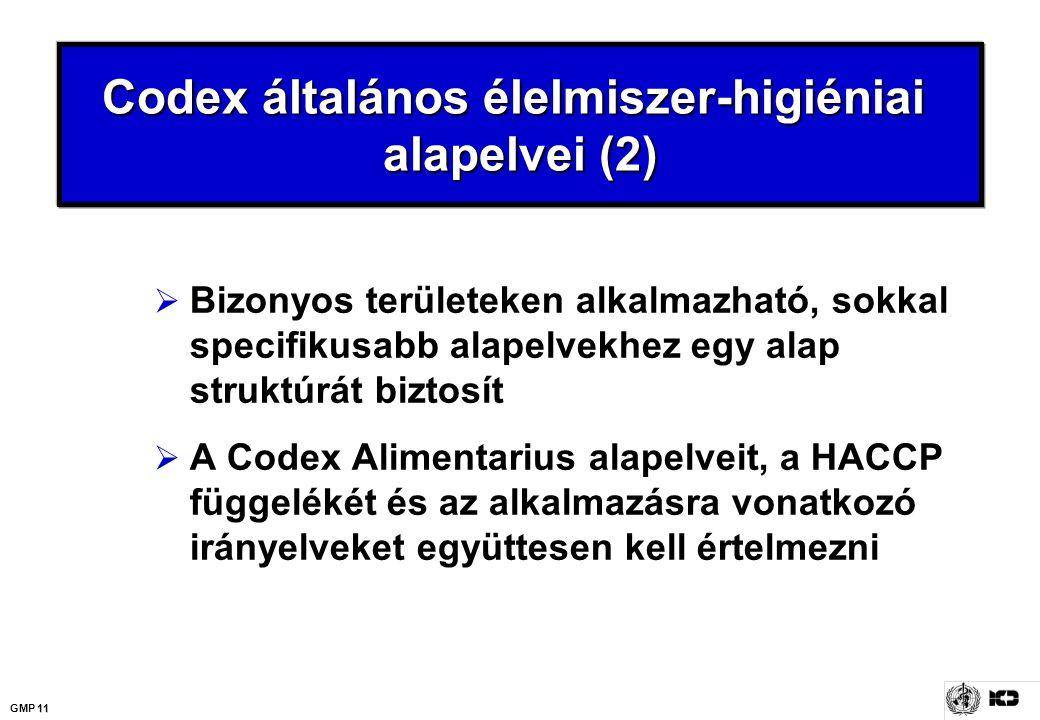 11 GMP 11 Codex általános élelmiszer-higiéniai alapelvei (2)  Bizonyos területeken alkalmazható, sokkal specifikusabb alapelvekhez egy alap struktúrá