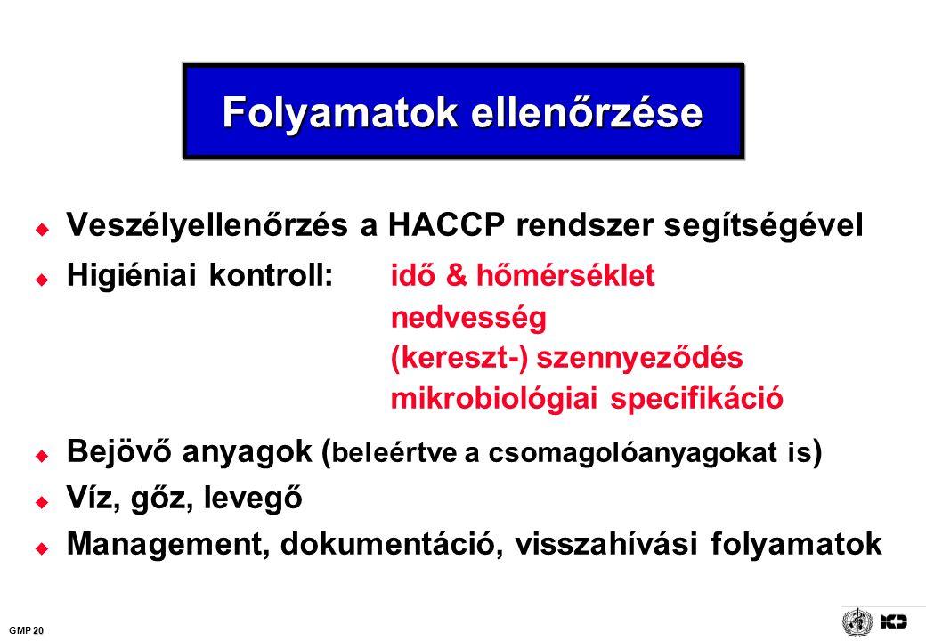 20 GMP 20 Folyamatok ellenőrzése  Veszélyellenőrzés a HACCP rendszer segítségével  Higiéniai kontroll: idő & hőmérséklet nedvesség (kereszt-) szenny
