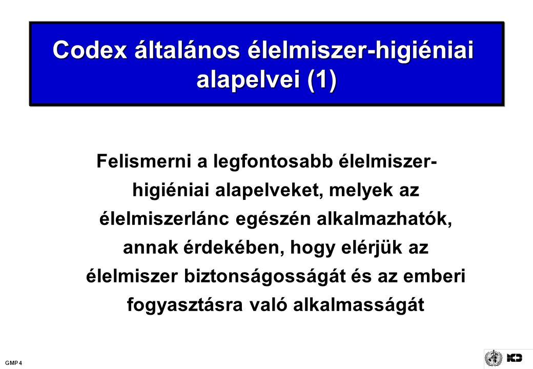 4 GMP 4 Codex általános élelmiszer-higiéniai alapelvei (1) Felismerni a legfontosabb élelmiszer- higiéniai alapelveket, melyek az élelmiszerlánc egész