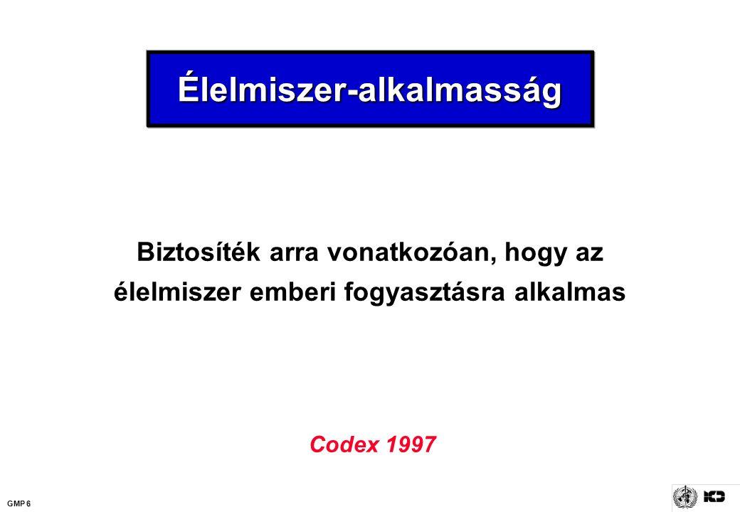 6 GMP 6 Élelmiszer-alkalmasságÉlelmiszer-alkalmasság Biztosíték arra vonatkozóan, hogy az élelmiszer emberi fogyasztásra alkalmas Codex 1997