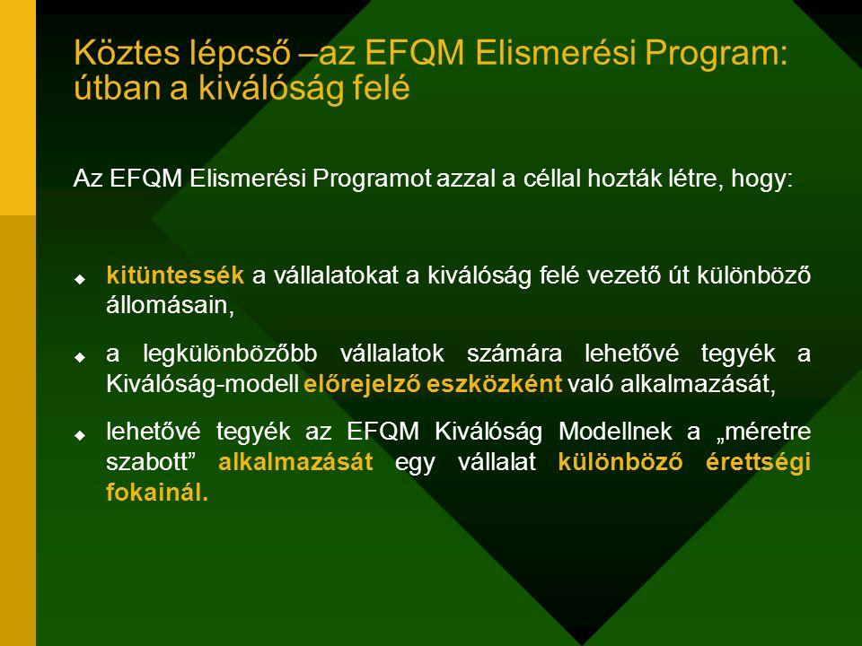 """Köztes lépcső –az EFQM Elismerési Program: útban a kiválóság felé Az EFQM Elismerési Programot azzal a céllal hozták létre, hogy:  kitüntessék a vállalatokat a kiválóság felé vezető út különböző állomásain,  a legkülönbözőbb vállalatok számára lehetővé tegyék a Kiválóság-modell előrejelző eszközként való alkalmazását,  lehetővé tegyék az EFQM Kiválóság Modellnek a """"méretre szabott alkalmazását egy vállalat különböző érettségi fokainál."""