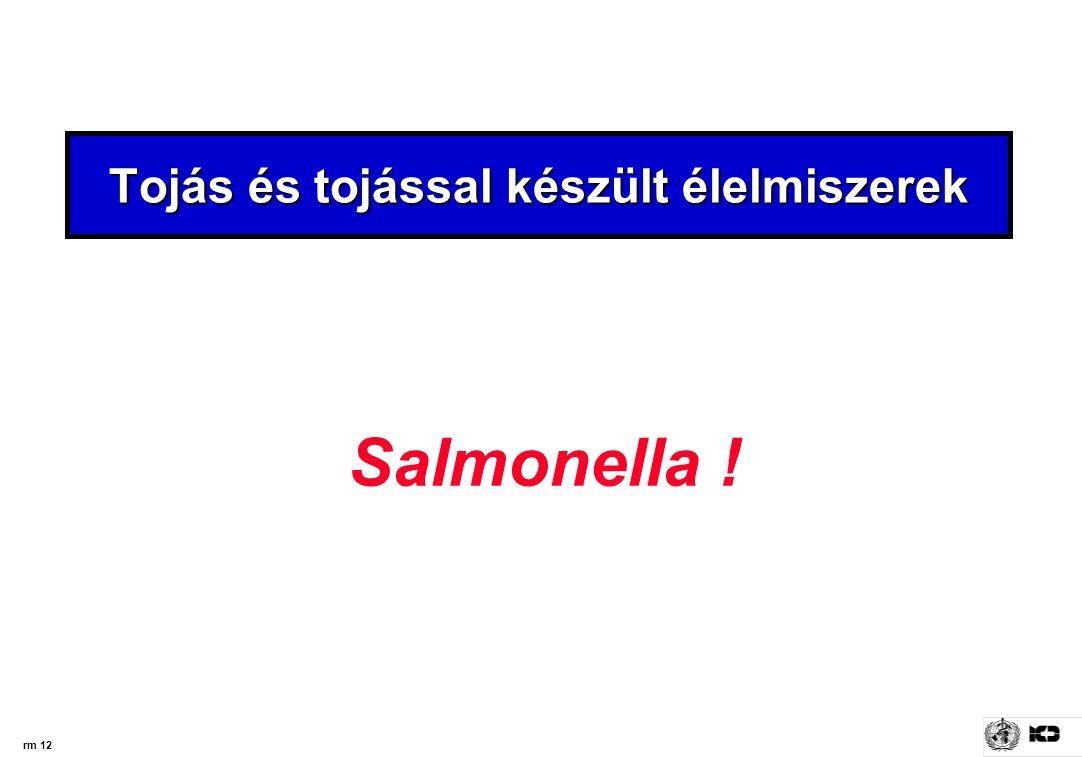 rm 12 Tojás és tojással készült élelmiszerek Salmonella !