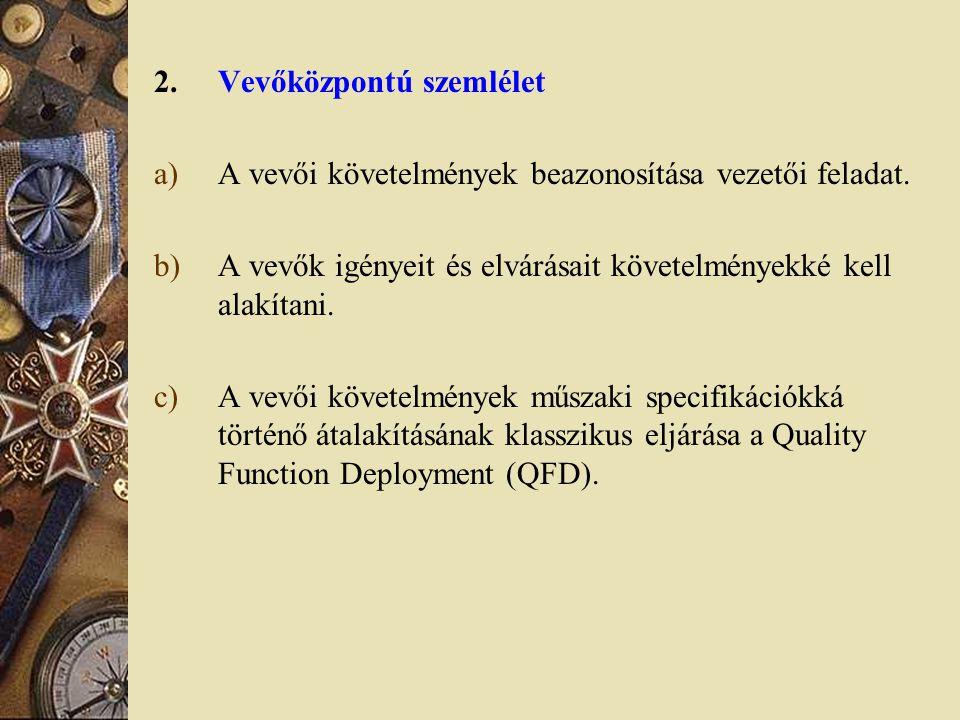 2.Vevőközpontú szemlélet a)A vevői követelmények beazonosítása vezetői feladat. b)A vevők igényeit és elvárásait követelményekké kell alakítani. c)A v
