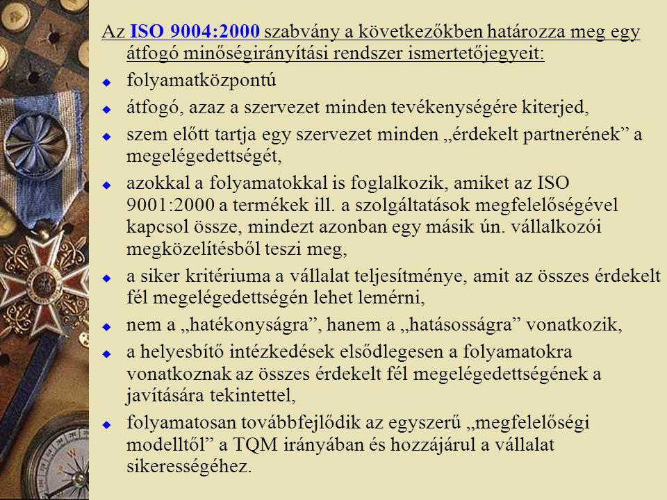 Az ISO 9004:2000 szabvány a következőkben határozza meg egy átfogó minőségirányítási rendszer ismertetőjegyeit:  folyamatközpontú  átfogó, azaz a sz