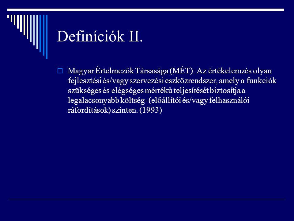 Definíciók II.  Magyar Értelmezők Társasága (MÉT): Az értékelemzés olyan fejlesztési és/vagy szervezési eszközrendszer, amely a funkciók szükséges és