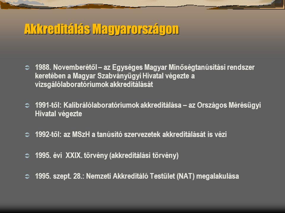 Akkreditálás Magyarországon  1988. Novemberétől – az Egységes Magyar Minőségtanúsítási rendszer keretében a Magyar Szabványügyi Hivatal végezte a viz