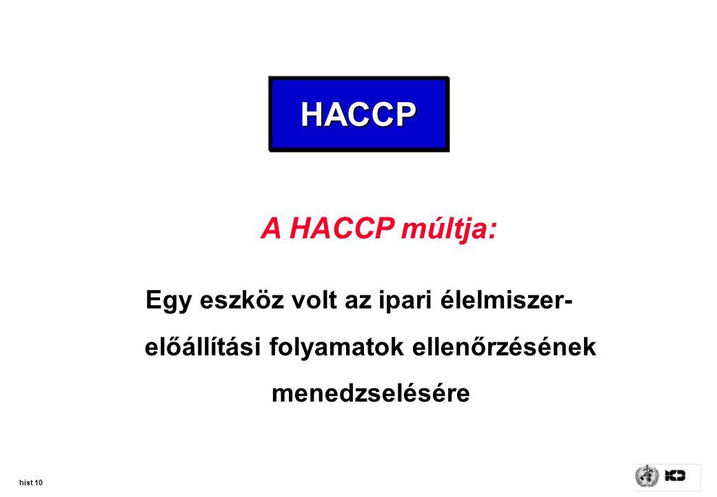 hist 10 HACCPHACCP Egy eszköz volt az ipari élelmiszer- előállítási folyamatok ellenőrzésének menedzselésére A HACCP múltja: