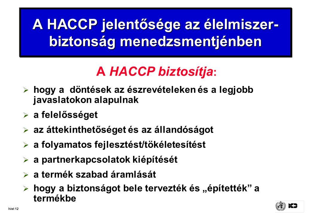 hist 12 A HACCP jelentősége az élelmiszer- biztonság menedzsmentjénben A HACCP biztosítja :  hogy a döntések az észrevételeken és a legjobb javaslato