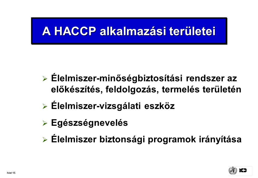 hist 15 A HACCP alkalmazási területei  Élelmiszer-minőségbiztosítási rendszer az előkészítés, feldolgozás, termelés területén  Élelmiszer-vizsgálati