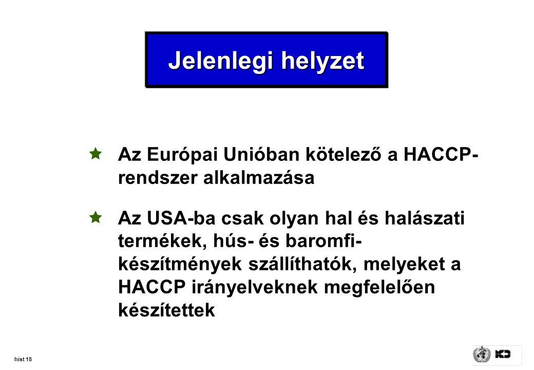 hist 18 Jelenlegi helyzet  Az Európai Unióban kötelező a HACCP- rendszer alkalmazása  Az USA-ba csak olyan hal és halászati termékek, hús- és baromf