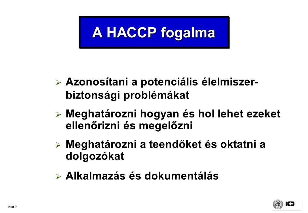 hist 9 A HACCP fogalma  Azonosítani a potenciális élelmiszer- biztonsági problémákat  Meghatározni hogyan és hol lehet ezeket ellenőrizni és megelőz