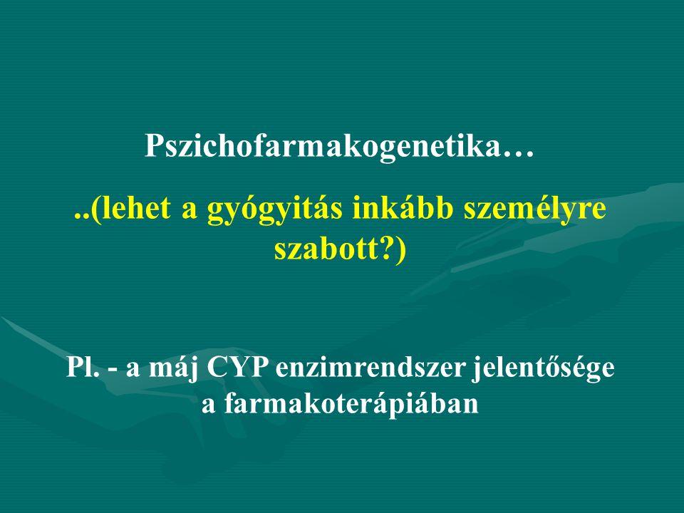 Pszichofarmakogenetika…..(lehet a gyógyitás inkább személyre szabott?) Pl. - a máj CYP enzimrendszer jelentősége a farmakoterápiában