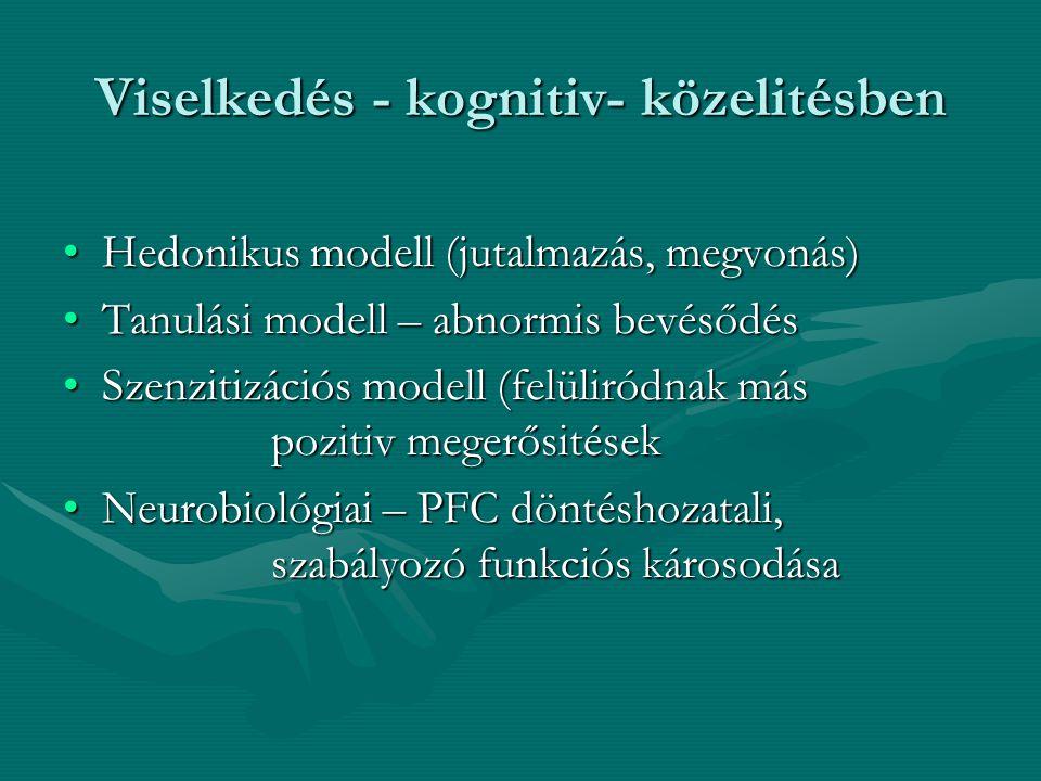 Viselkedés - kognitiv- közelitésben Hedonikus modell (jutalmazás, megvonás)Hedonikus modell (jutalmazás, megvonás) Tanulási modell – abnormis bevésődé