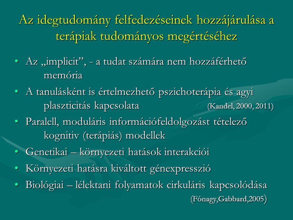 """Az idegtudomány felfedezéseinek hozzájárulása a terápiak tudományos megértéséhez Az """"implicit"""", - a tudat számára nem hozzáférhető memóriaAz """"implicit"""