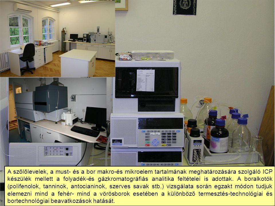 A szőlőlevelek, a must- és a bor makro-és mikroelem tartalmának meghatározására szolgáló ICP készülék mellett a folyadék-és gázkromatográfiás analitik