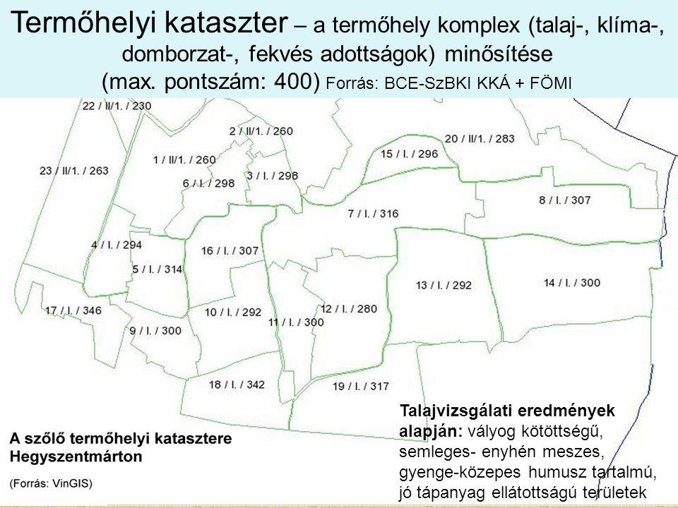 Talajvizsgálati eredmények alapján: vályog kötöttségű, semleges- enyhén meszes, gyenge-közepes humusz tartalmú, jó tápanyag ellátottságú területek Ter