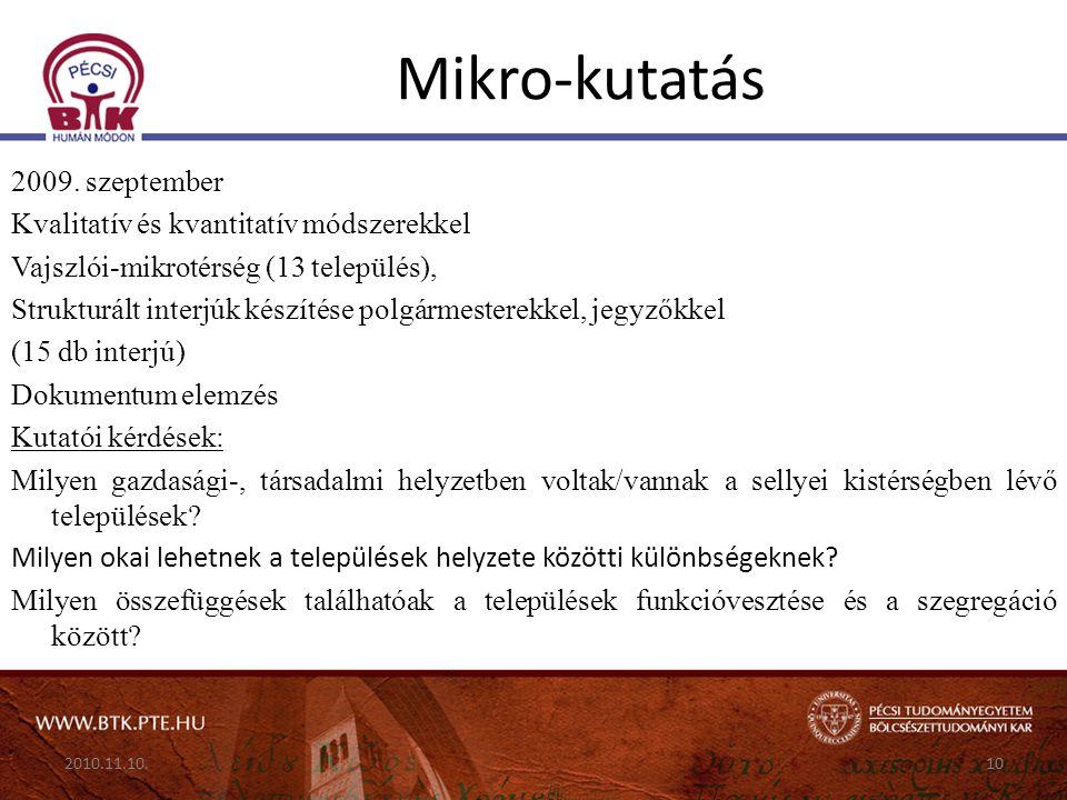 Mikro-kutatás 2009. szeptember Kvalitatív és kvantitatív módszerekkel Vajszlói-mikrotérség (13 település), Strukturált interjúk készítése polgármester