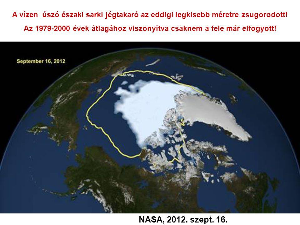 A vízen úszó északi sarki jégtakaró az eddigi legkisebb méretre zsugorodott! Az 1979-2000 évek átlagához viszonyítva csaknem a fele már elfogyott! NAS